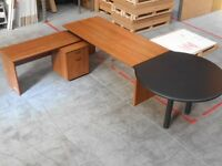 EXECUTIVE DESK , DRAWERS AND ROUND END - MEETING TABLE