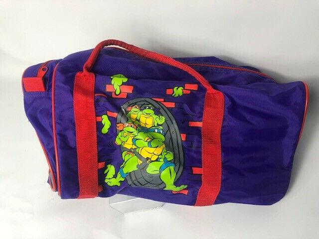 Vintage Teenage Mutant Ninja Turtles Duffel Tote Gym Carry On Bag Purple 1990