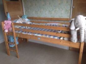 Fantastic wooden pine IKEA cabin bed slatted base with ladder integrated. White head and base boards