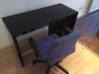 Desk in black gloss with adjustable desk chair in blue cloth