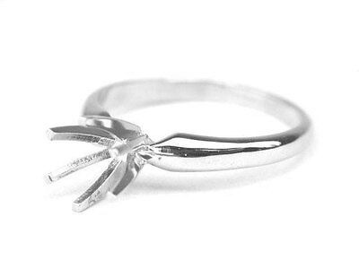 14K White Gold Classic Simple Diamond Engagement Ring Solitaire Setting