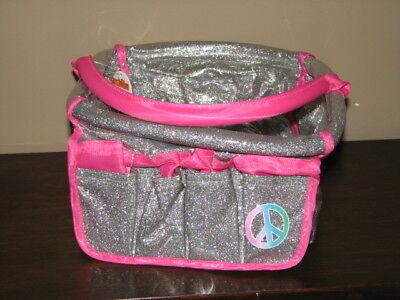New Justice glitter peace pink shower caddy organizer bath camp school college L ()
