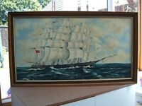 Oil Painting on Canvas of 3 Mast Rigged Sailing Ship - Signed C Miller.75 in Wooden Frame