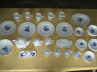 53-Piece 1960's Blue Rose Ironstone Enoch Wedgwood Dinnerware