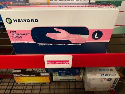 Halyard Pink Underguard Nitrile Exam Gloves L 100box