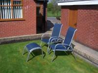 4 multi position garden chairs and 2 foot stools