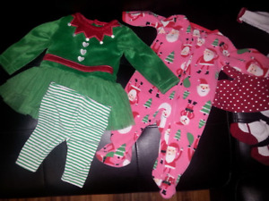 0-3 month girls Christmas clothes