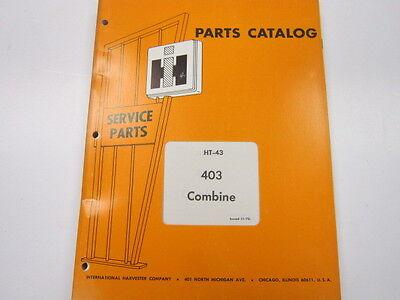 International 403 Combine Parts Catalog