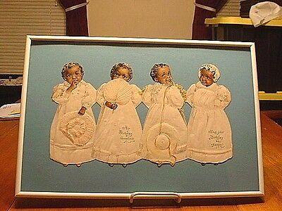 RARE Antique Black Americana Quadruplets Cut Out Doll Birthday Card Framed