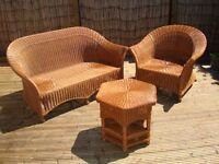 Conservatory Furniture - 3 piece wicker set comprising of 2 seater settee, armchair, table