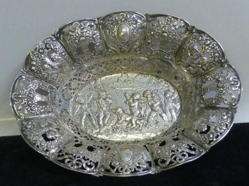 Antique German 800 Fine Silver Open Work Dish with a Repousse Cherub Design