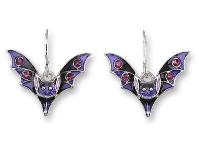 Zarah Zarlite Baby BAT EARRINGS Enamel Silver Plated Purple & Black w/Crystals