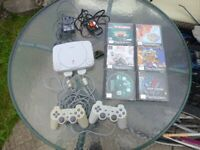 SONY PLAYSTATION ONE SLIMLINE CONSOLE MODEL SCPH-102&TWO CONTROLLERS&SIX BOXED GAMES