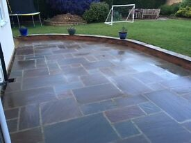 15.5m2 of Autumn Brown Sandstone paving. Less than £10 per square metre.