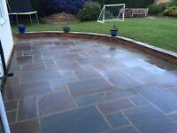 15.5m2 of Autumn Brown Sandstone paving. Less than £10 per square metre.