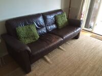 DFS Brown Leather Sofa and Chair