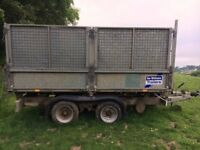 FOR SALE Ifor Williams tipping trailer TT105G with mesh extensions 10x5'6.