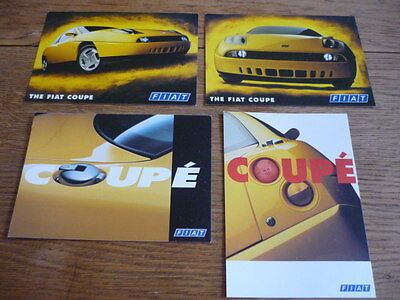 FIAT COUPE, ORIGINAL ADVERTISING POSTCARD SET OF 4  - BROCHURE CONNECTED