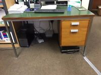 green leather topped 1960's style desk with drawers