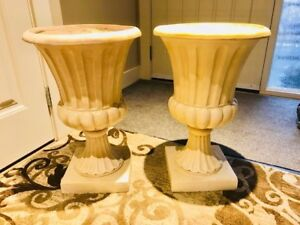 Pair of Large Ivory Flower Pots Urns