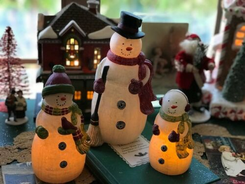 Pier 1 Boxed Set of 3 Christmas Snowman Flameless LED Candles SOLD OUT