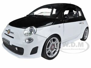 FIAT-ABARTH-500-WHITE-BLACK-1-18-DIECAST-CAR-MODEL-BY-MOTORMAX-79168