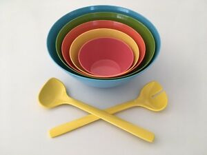 Modern Stacking Bowls with Salad Servers