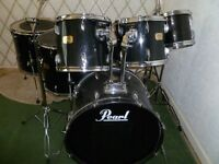 "pearl export drum kit 22 12 13 16 18 14x5 also 8"" odd tom plus stands."
