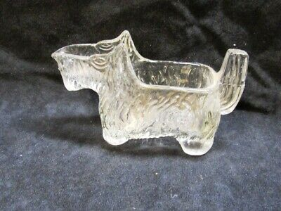 VINTAGE CLEAR GLASS SCOTTISH TERRIER DOG SCOTTY CREAMER CANDY CONTAINER