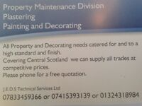 Property maintenance covering all trades and specialising in plastering / painting and decorating