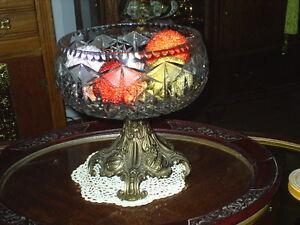 gros plat a fruits en cristal de strauss