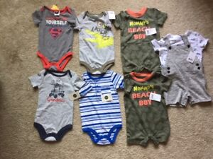 REDUCED - 6 NEW ONESIES + a SHORT SET for BOYS (12-18 months)
