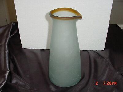 HAND BLOWN LIGHT BLUE FROSTED CRACKLED ART GLASS PITCHER/VASE