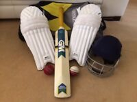 Cricket Set including Bat, helmet, balls, pads and bag - would suit teenager