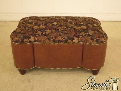 39868: Custom Upholstered & Leather Ottoman w. Tack Head Trim ~  NEW