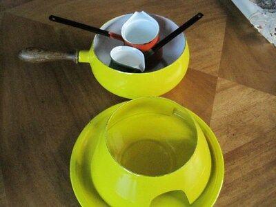 (Vintage Yellow Fondue Pot Set Aluminum Wood MidCentury Enamel)