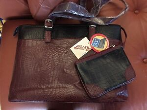 Business leather bag for woman, Burgundy colour