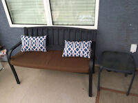 Amazing patio bench love seat with side table