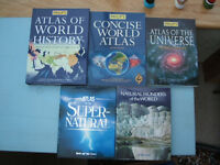 5 off Large Reference Books - Atlas/World/Universe/Wonders