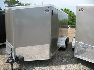 2017 7X16 V-Nose Enclosed Trailer with ramp door London Ontario image 2