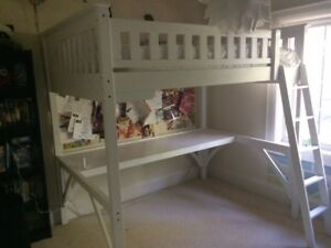 White Loft Bed and Desk, Great Condition