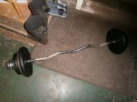 EZ bar with weight selection 55kg. Build cannons for summer.