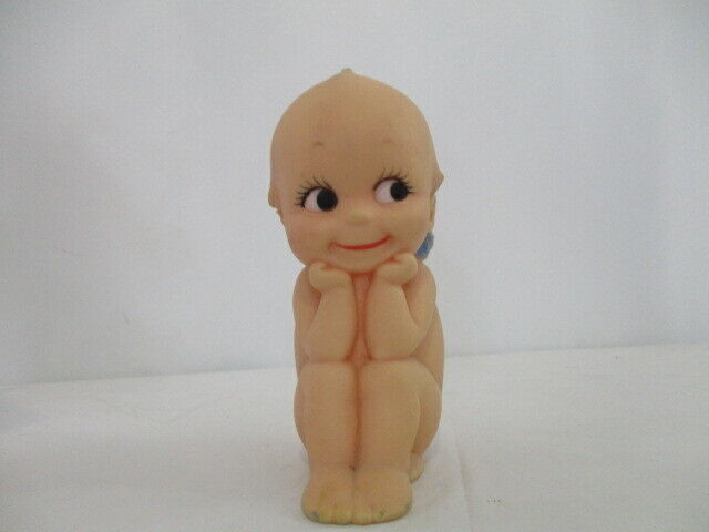 "Vintage Kewpie Cameo Doll ""Thinker"" w/Blue Wings, Signed 6"""