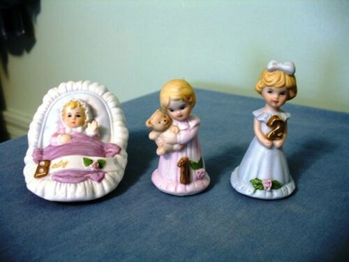 (3)-VINTAGE ENESCO GROWING UP BIRTHDAY GIRL FIGURINES-AGES BABY-2-BLOND HAIR!