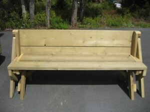 wolmanized bench & folding picnic table