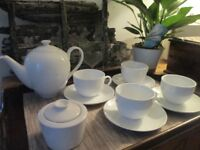 Beautiful White Teapot Cups Saucers and Lidded Sugar Bowl