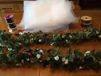 Ivy Vine Garland and White Tulle