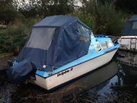 16' Micro Plus 2 Berth Boat with Mariner 15hp Outboard & Good Condition Full Trailer With Winch.