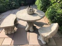 STONE GARDEN FURNITURE TABLE BENCH & TWO CHAIRS