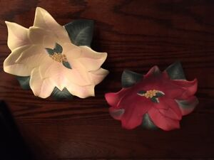 Retired Partylite Poinsettia Pair candle holders with candles Kitchener / Waterloo Kitchener Area image 1